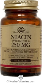 Solgar Kosher Niacin 250 Mg 100 Tablets