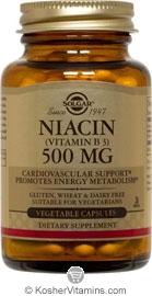 Solgar Kosher Niacin 500 Mg 100 Vegetable Capsules