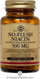 Solgar Kosher No-Flush Niacin 500 Mg (Vitamin B3) (Inositol Hexanicotinate)  100 Vegetable Capsules