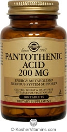 Solgar Kosher Pantothenic Acid 200 Mg 100 Tablets