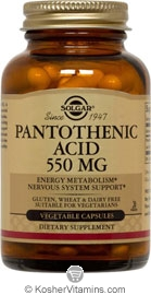 Solgar Kosher Pantothenic Acid 550 Mg 50 Vegetable Capsules