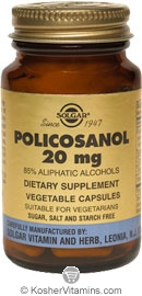 Solgar Kosher Policosanol 20 mg 50 Vegetable Capsules