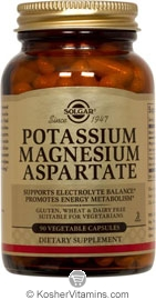 Solgar Kosher Potassium Magnesium Aspartate 90 Vegetable Capsules