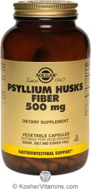 Solgar Kosher Psyllium Husks Fiber 500 mg 500 Vegetable Capsules
