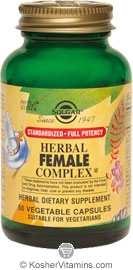 Solgar SFP Herbal Female Complex Vegetarian Suitable Not Certified Kosher 50 Vegetable Capsules