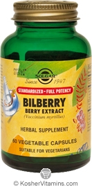 Solgar Kosher SFP Bilberry Berry Extract 60 Vegetable Capsules