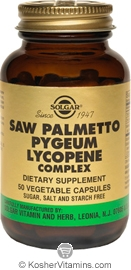 Solgar Saw Palmetto Pygeum Lycopene Complex Vegetarian Suitable not Certified Kosher 50 Vegetable Capsules