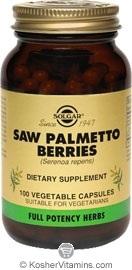 Solgar Kosher FP Saw Palmetto Berries 100 Vegetable Capsules