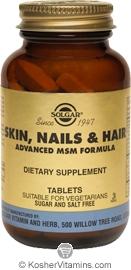 Solgar Kosher Skin, Nails & Hair Advanced MSM Formula 60 Tablets