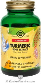 Solgar Kosher Standarized Turmeric Root Extract  60 Vegetable Capsules