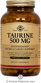 Solgar Kosher Taurine 500 Mg 250 Vegetable Capsules