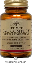 Solgar Kosher Ultimate B+C Complex Stress Formula  90 Tablets