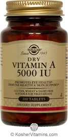 Solgar Kosher Vitamin A Dry 5000 IU 100 Tablets