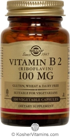 Solgar Kosher Vitamin B2 (Riboflavin) 100 Mg 100 Vegetable Capsules
