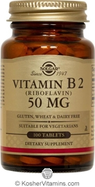 Solgar Kosher Vitamin B2 (Riboflavin) 50 Mg 100 Tablets