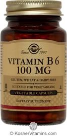 Solgar Kosher Vitamin B6 100 Mg 100 Vegetable Capsules