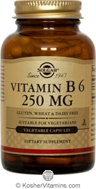 Solgar Kosher Vitamin B-6 250 Mg 250 Vegetable Capsules