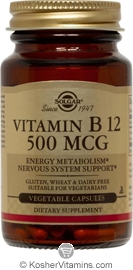 Solgar Kosher Vitamin B12 500 mcg 100 Vegetable Capsules