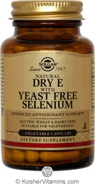 Solgar Kosher Vitamin E With Yeast-Free Selenium 50 Vegetable Capsules