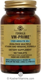 Solgar Kosher Formula VM-Prime For Adults 50+ Iron Free 100 Tablets