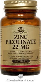 Solgar Kosher Zinc Picolinate 22 Mg 100 Tablets