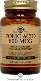 Solgar Kosher Folic Acid 800 Mcg 100 Vegetable Capsules
