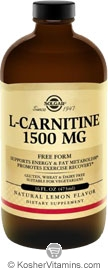 Solgar L-Carnitine 1500 Mg Liquid Lemon Flavor Vegetarian Suitable Not Certified Kosher 16 Fl Oz.