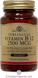Solgar Kosher Sublingual Vitamin B12 2500 Mcg. Natural Cherry Flavor 60 Nuggets