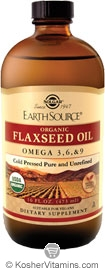 Solgar Kosher Earth Source Organic Liquid Flaxseed Oil Cold Pressed Omega-3, 6, 9 16 OZ