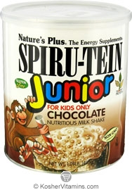 Nature`s Plus Kosher Spiru-Tein Junior Children's Nutritious Milk Shake Chocolate Flavor 1 LB