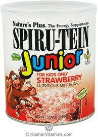 Nature`s Plus Kosher Spiru-Tein Junior Children's Nutritious Milk Shake Strawberry Flavor 1 LB.