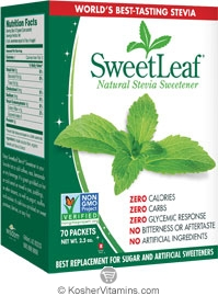 SweetLeaf Kosher Natural Stevia Sweetener 70 Packets