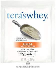Tera's Whey Kosher Goat Protein Powder Dairy - Plain Unsweetened 12 Packets