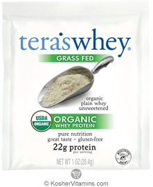 Tera's Whey Kosher Organic Grass Fed Protein Dairy - Powder Plain 12 Packets