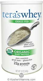 Tera's Whey Kosher Organic Grass Fed Protein Dairy - Powder Plain 12 OZ
