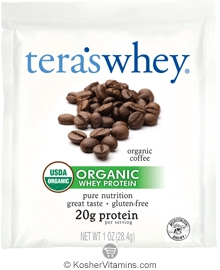 Tera's Whey Kosher Organic Protein Powder Dairy - Coffee  12 Packets