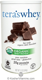 Tera's Whey Kosher Organic Protein Powder Dairy Fair Trade - Dark Chocolate  12 OZ