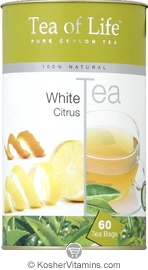 Tea Of Life Kosher 100% Natural White Tea Citrus 60 Tea Bags