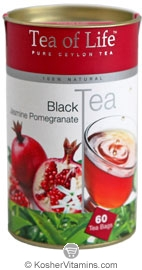 Tea of Life Kosher Black Tea Jasmine Pomegranate 60 Tea Bags
