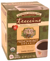 Teeccino Kosher Herbal Coffee Organic French Roast Star-K 10 Tea Bags