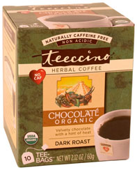 Teeccino Kosher Herbal Coffee Organic Maya Chocolate Star-K 10 Tea Bags