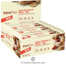 ThinkThin Kosher Lean Protein and Fiber Bar Chunky Chocolate Peanut 10 Bars