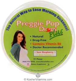 Three Lollies Kosher Preggie Pop Drops Plus with Vitamin B6 21 Drops