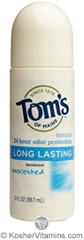 Toms Of Maine Kosher Long Lasting Deodorant Roll-On Unscented Pack Of 6 3 OZ