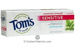 Toms Of Maine Kosher Maximum Strength Sensitive Toothpaste Soothing Mint 6 Pack 4 OZ