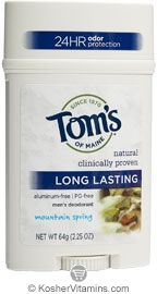 Toms Of Maine Kosher Men's Long Lasting Deodorant Wide Stick Mountain Spring Pack Of 6 2.25 OZ