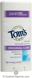 Toms Of Maine Kosher Deodorant Stick Original Care Unscented Pack Of 6 2.25 OZ