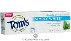Toms Of Maine Kosher Simply White Toothpaste Clean Mint Pack Of 6 4.7 OZ