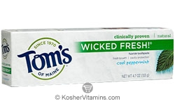 Toms Of Maine Kosher Wicked Fresh Toothpaste Cool Peppermint Pack Of 6 4.7 OZ