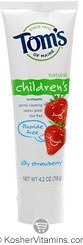 Toms Of Maine Kosher Children's Fluoride Free Toothpaste Silly Strawberry Pack of 6 4.2 OZ